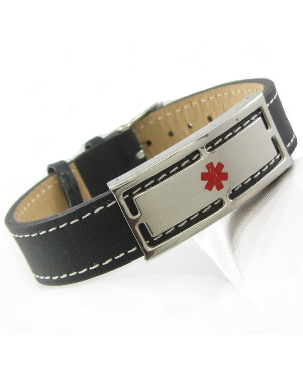 "MyIDDr - Pre-Engraved & Customized Sulfa Allergy Black Leather Medical ID Bracelet- Wrist Sz: 7""-8.25"" - C411BKWAMV5"