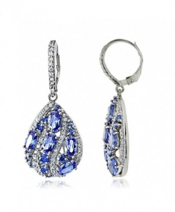 Sterling Silver Simulated Tanzanite and Cubic Zirconia Teardrop Dangle Earrings - C712MZ6Z9DC
