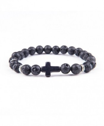 Cross Bracelet Black AgateTurquoise Lava Rock Bead Natural Stone Beads Bracelets - CV188R5UZ7H
