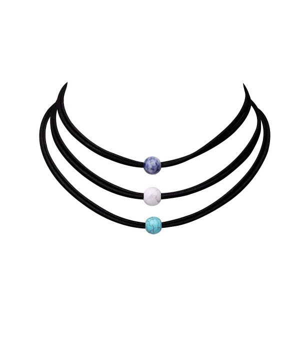 3PCS Natural Turquoise Bead Choker Necklace Set Handmade Leather Wrap Bracelet for Women Girls - CC185X9I60A