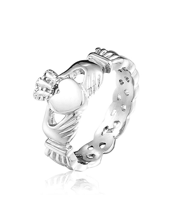 SHINYSO Fashion Jewelry Stainless Steel Unisex Claddagh with Celtic Knot Ring Wedding Band (size 7-8-9-10) - CJ11YDPJ80N