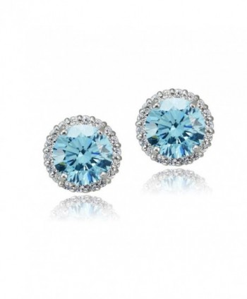 Platinum Flashed Silver Zirconia Earrings - bermuda-blue - CA12DUCFGTB
