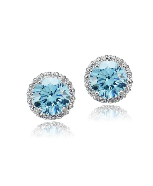 Platinum Flashed Silver Zirconia Earrings - bermuda-blue - CA12DUCFGTB