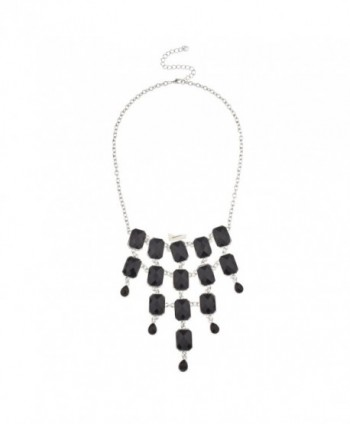 Lux Accessories Black Layered Bib Statement Necklace. - CN11KUZV12N