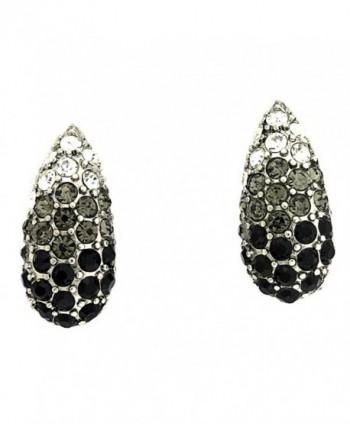 Vintage Simulated Rhinestone Clip-On Earrings - Black Gray Clear - CC115WH3KK5