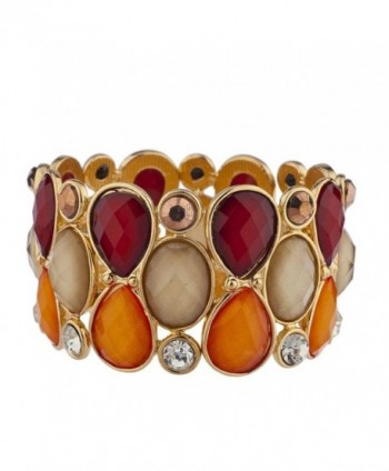 Lux Accessories goldtone Red Orange Tan Acrylic Teardrop Stone Stretch Bracelet - C612O7MDLW2