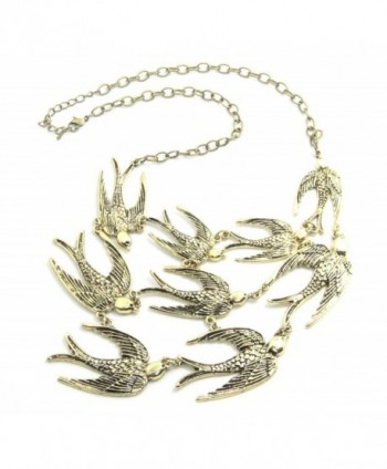 Vintage Anthropologie Swallow Brass Bib Necklace Statement - CP11NAMZNML