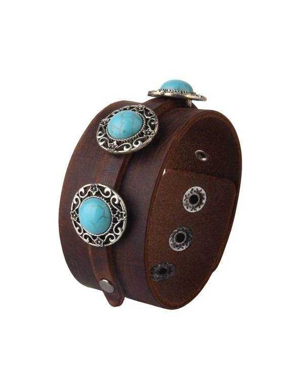 Adjustable Punk Genuine Leather Wide Belt Wristband Bangle Cuff Bracelet for Men by Jenia - Brown-1 - C9183W83ACO