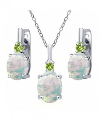 4.87 Ct Oval Cabochon White Simulated Opal Green Peridot 925 Sterling Silver Pendant Earrings Set - C4126E719NL
