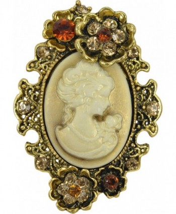 Gyn&Joy Old Style Cameo Lady Maiden Flower Crystal Rhinestone Pin Brooch BZ004 - C217Z39ZARW