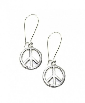 Silver Peace Sign Kidney-wire Earrings - CT110OOH0Q1