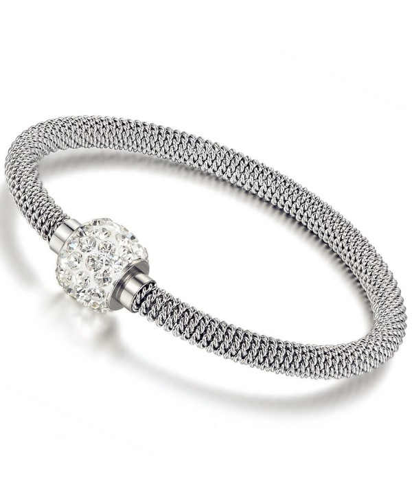 Flongo Women's Stainless Steel Glitter Disco Ball Pendant Mesh Chain Charm Cuff Bracelet Bangle- 7.7 inch - CS1225D44J9
