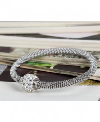Flongo Stainless Glitter Pendant Bracelet