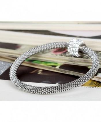 Flongo Stainless Glitter Pendant Bracelet in Women's Cuff Bracelets