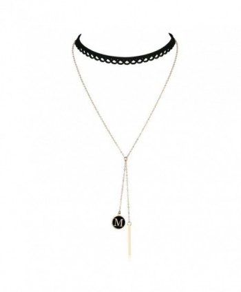 Letter Gold Bar Pendant Women Girls Black Lace Hollow Choker Double Layered Chain Chokers Y Necklace - M - CT184UZ9EGL