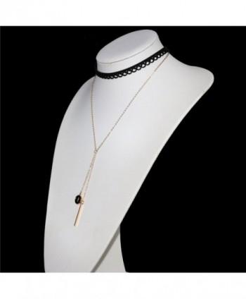 Letter Gold Bar Pendant Women Girls Black Lace Hollow Choker Double