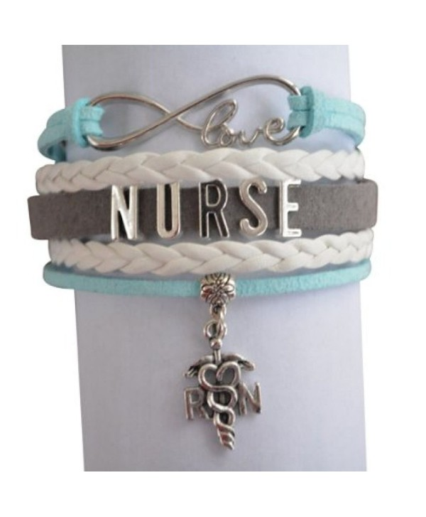 Nurse Bracelet- Nurse Charm Bracelet Makes Perfect Nurse Gifts - Teal/Gray - C512DPM6E2J