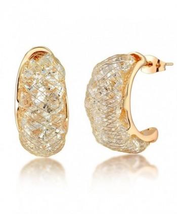 Mytys Rose Gold Fishnet CZ Semicircle Ear Stud Earringsfor Women - CX12EWLIDAH