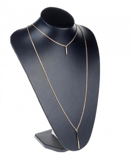JY Jewelry Gold-Plated Double Layer Bar Pendant Long Chain Necklace - CA11VM1MPHJ