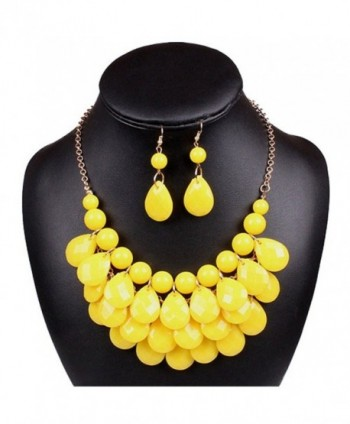 Lucite Teardrop Bead Beaded Fringe Bib Statement Choker Necklace Earrings - yellow - CX11LX117TZ