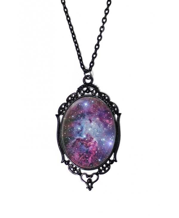 "Purple Galaxy Cameo Necklace with Ornate Black Frame on 18"" Chain - CH12OBP65F0"