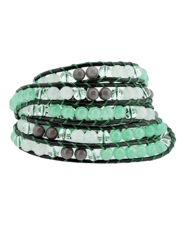 Stackable Beaded Wrap Bracelet with Simulated Green Quartz and Transparent Beads - CK11DPQBH2N