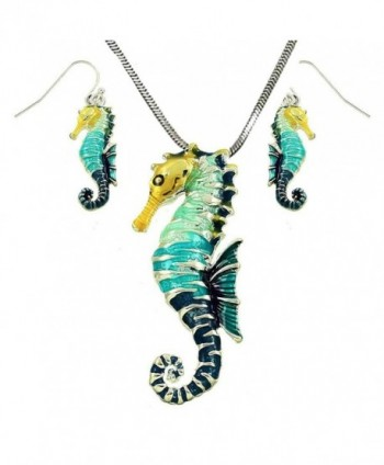 """DianaL Boutique Large Beautiful Seahorse Pendant and Necklace and Earrings Set with 24"""" Chain Gift Boxed - C512425PJ6P"""