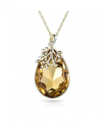 Alantyer Necklace Teardrop Swarovski Birthstone - Light Topaz - CB185LW7YYN