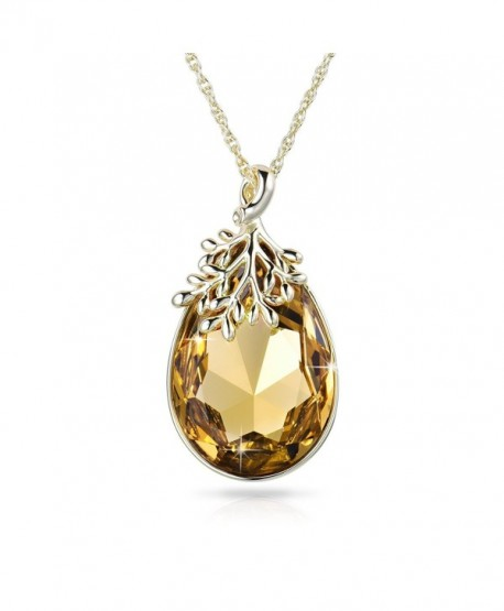 Alantyer Necklace Teardrop Swarovski Birthstone - Light Topaz - CB185LW7YYN