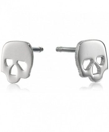 Stainless Steel Tiny Skull Stud Earrings 1/4 inch round - CZ117V5B93V