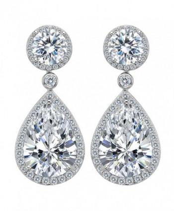 EleQueen 925 Sterling Silver Cubic Zirconia Round Teardrop Bridal Dangle Earrings Clear - Sterling Silver - CB12MHUN96J