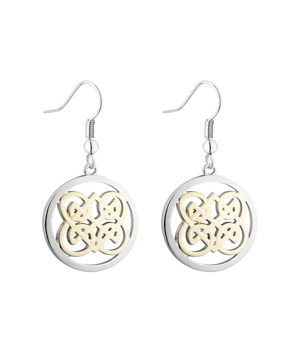 Book of Kells Celtic Drop Earrings Round Two Tone - CW12MZHPW72