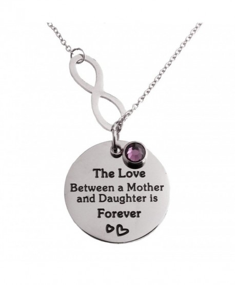 R.H. Jewelry Stainless Steel Pendant Purple Acrylic Charm Mother and Daughter Infinity Love Necklac - C311LBXD3ZV