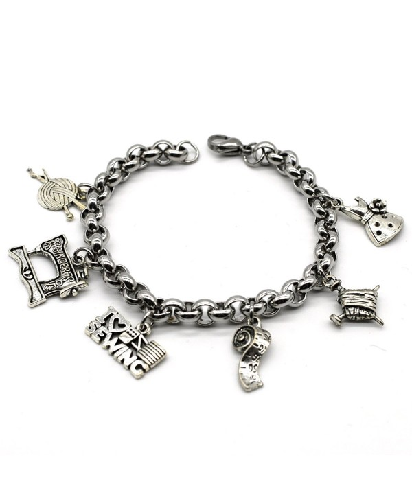 Stainless Steel Link Charms Bracelet- I Love Sewing- Handmade in USA- ML02 - C317YCZR44E