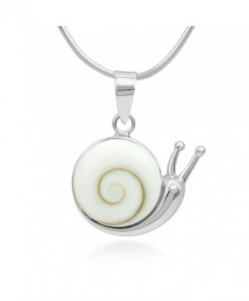"925 Sterling Silver Adorable Shiva Eye Shell Snail Inlay Round Pendant Necklace- 18"" Chain - CL12BT358ZZ"