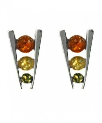 Multicolor Amber Sterling Silver Triple Eye Earrings - C4115UD488T