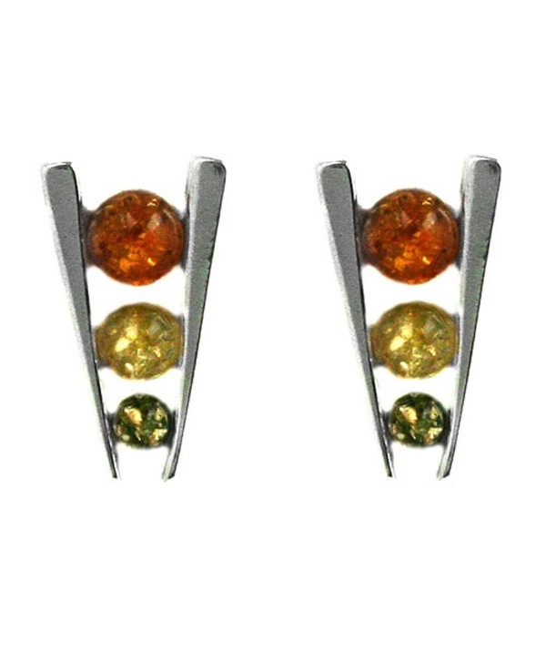 Multicolor Amber Sterling Silver Triple Eye Earrings - C4115UD488T