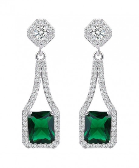 EVER FAITH Women's Cubic Zirconia Gorgeous Square Flower Chandelier Drop Earrings Silver-Tone - Green - CU12NSVPPFA
