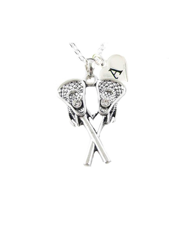 Custom Crystal Lacrosse Sticks Silver Chain Necklace Choose Initial Charm All 26 - CA12N1KNYBJ