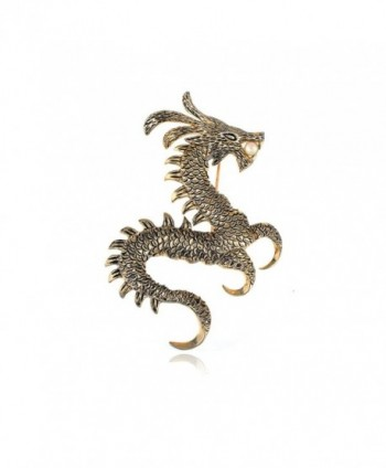 Alilang Womens Gold Tone Faux Pearl Ancient Zodiac Dragon Monster Brooch Pin - C7113T2IPL9