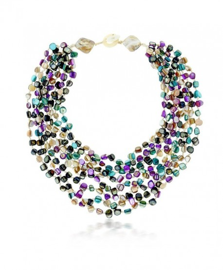 20 Inch MultiColor Simulated Shell Pearls Multi-Strand Twist Necklace - CP11HXZ2S5H