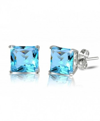 De Lelu Sterling Silver Princess Cut Simulated Blue Topaz Cubic Zirconia Stud Earrings - C712G8QFCVD
