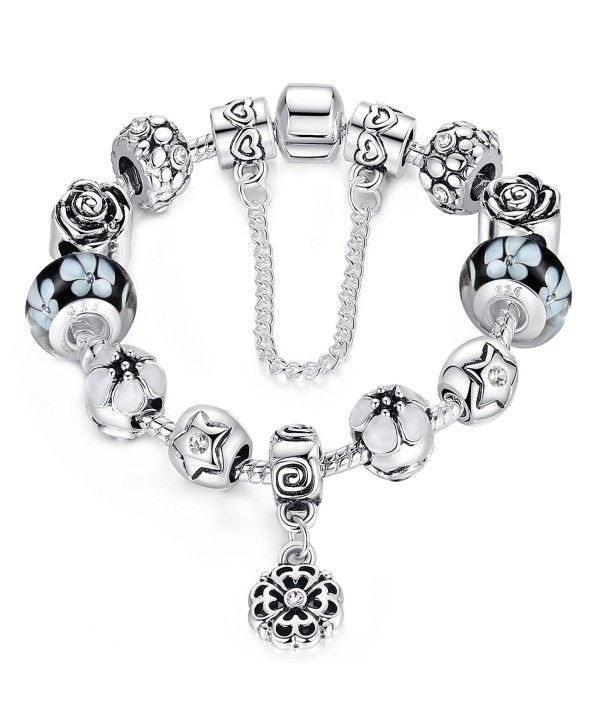 Presentski Charm Bangle Bracelet Silver Plated with Colorful Cubic Zirconia for Women - CB12LEE536X
