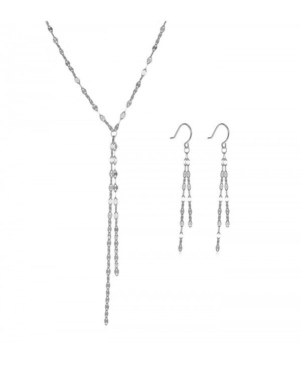 Tassel Y Necklace and Matching Dangle Earrings   Yellow Gold- Rose Gold or Rhodium over Sterling Silver - CT12MA6ZORH