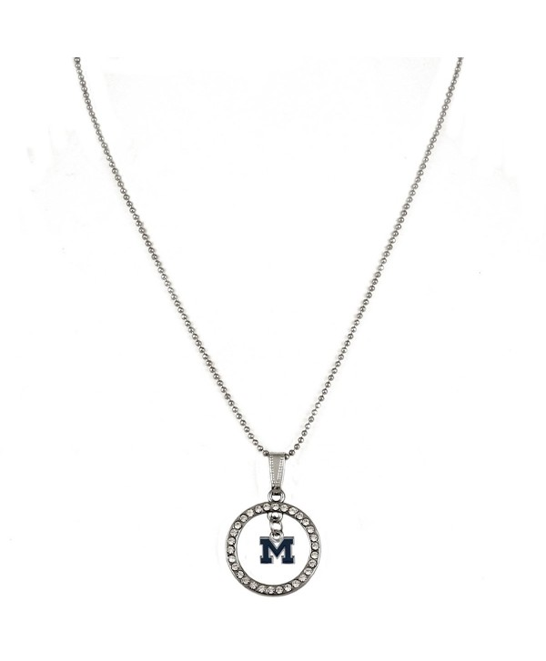 "Rosemarie Collections Women's Crystal Hoop Pendant Necklace ""University of Michigan Wolverines"" - CR12O1E980Y"