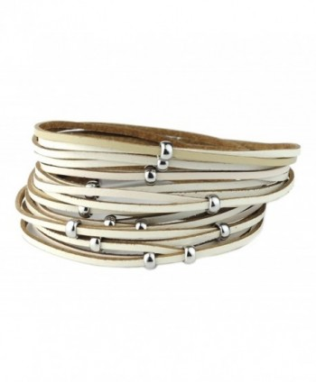 Women's Genuine Leather Multicolor Wrap Magentic Bracelet - Beige/Silver-Tone - C5186RKCYWT