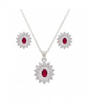 Oval Luxury Necklace & Earrings Jewelry Set Trendy AAA Cubic Zirconia For Women - Red - CG1897R54TN