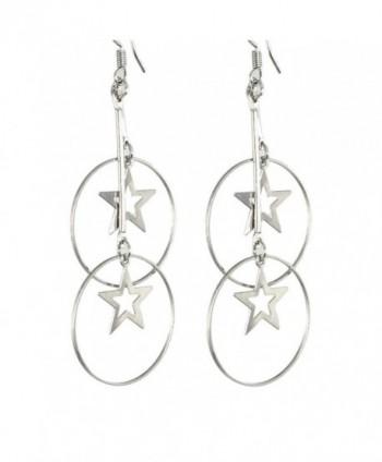 Silver Tone Metal Star Hoop Pendant Dangling Earrings for Women - CQ11B872VUX