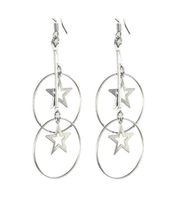 Silver Tone Metal Star Hoop Pendant Dangling Earrings for Women - CQ11B872VUX