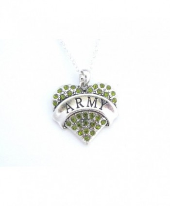 Army Green Crystals Silver Chain Heart Necklace - C611DSQQA3Z